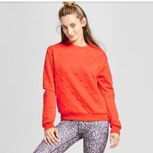Joy Lab polka dot slit sleeve sweatshirt. Large